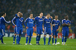 MOSCOW, RUSSIA - Wednesday, May 21, 2008: Chelsea's players look dejecred during the shoot-out to decide the UEFA Champions League Final against Manchester United at the Luzhniki Stadium. L-R: Nicolas Anelka, Juliano Belletti, captain John Terry, Frank Lampard, Ashley Cole and Michael Essien. (Photo by David Rawcliffe/Propaganda)
