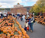Crowds viewing jack O Lanterns at Keene Pumpkin Festival