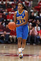 January 20, 2011; Stanford, CA, USA;  UCLA Bruins guard Doreena Campbell (21) dribbles up court against the Stanford Cardinal during the first half at Maples Pavilion.  Stanford defeated UCLA 64-38.