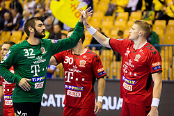 Mirko Alilovic of Telekom Veszprem HC and Blaz Blagotinsek of Telekom Veszprem HC during handball match between RK Celje Pivovarna Lasko and Telekom Veszprem in 1st round of VELUX EHF Champions League, on September 16, 2017 in Arena Zlatorog, Celje, Slovenia. Photo by Ziga Zupan / Sportida