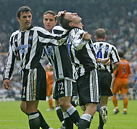 Photo. Andrew Unwin.<br /> Newcastle United v Wolverhampton Wanderers, FA Barclaycard Premier League, St James Park, Newcastle upon Tyne 09/05/2004.<br /> Newcastle's Lee Bowyer (r) celebrates scoring his team's first goal.