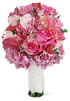 Pink wedding bouquet on white background