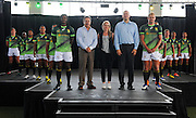 STELLENBOSCH, SOUTH AFRICA - Wednesday 20 January 2016, players with Mr Markus Jooste (CEO of Steinhoff International), Mrs Sarah Mundy (Marketing Manager of Asics South Africa) and Mr Oregan Hoskins (President of SARU) during the launch of Springbok 7's new jersey with Steinhoff International as sponsor at the Markotter Indoor facility in Stellenbosch.<br /> Photo by Roger Sedres/ImageSA