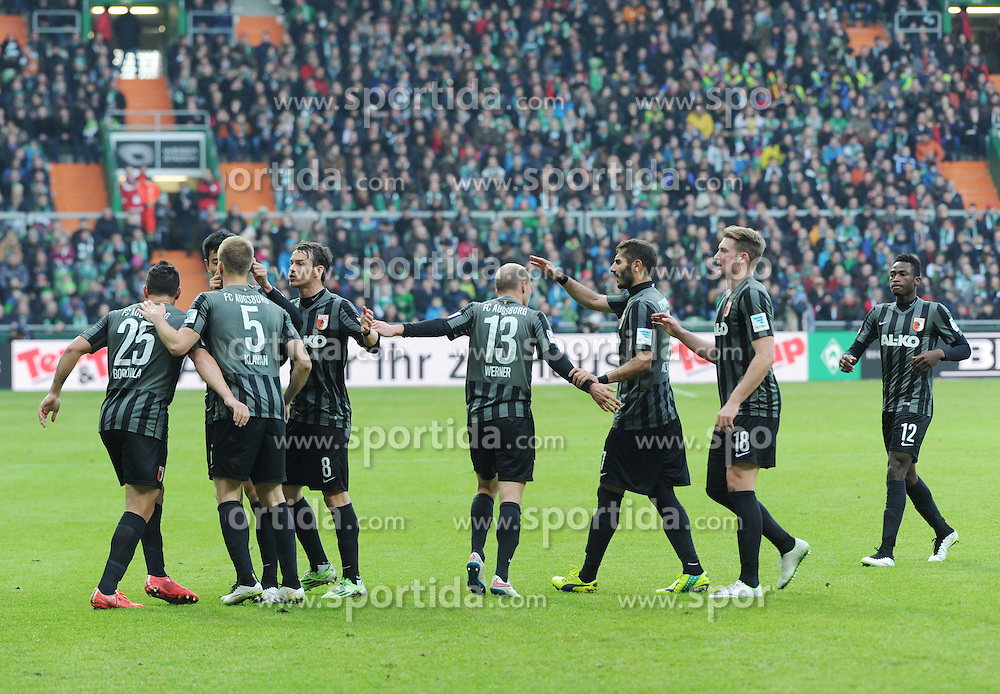 14.02.2015, Weserstadion, Bremen, GER, 1. FBL, SV Werder Bremen vs FC Augsburg, 21. Runde, im Bild Jubel bei den Augsburgern nach dem 1 : 1 durch Ragnar Klavan ( FC Augsburg ). // during the German Bundesliga 21th round match between SV Werder Bremen and FC Augsburg at the Weserstadion in Bremen, Germany on 2015/02/14. EXPA Pictures &copy; 2015, PhotoCredit: EXPA/ Eibner-Pressefoto/ Schmidbauer<br /> <br /> *****ATTENTION - OUT of GER*****