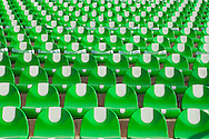 Green stadium seating at the Territorio Santos Modelo sports complex in Mexico. Horizontal shot.