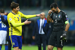 November 13, 2017 - Milan, Italy - Victor Lindelof of Sweden comforting Gianluigi Buffon of Italy at the end of the match at San Siro Stadium in Milan, Italy on November 13, 2017. (Credit Image: © Matteo Ciambelli/NurPhoto via ZUMA Press)
