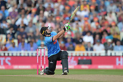 Luke Wright of Sussex brings up his half-century with a six during the Vitality T20 Finals Day semi final 2018 match between Sussex Sharks and Somerset County Cricket Club at Edgbaston, Birmingham, United Kingdom on 15 September 2018.