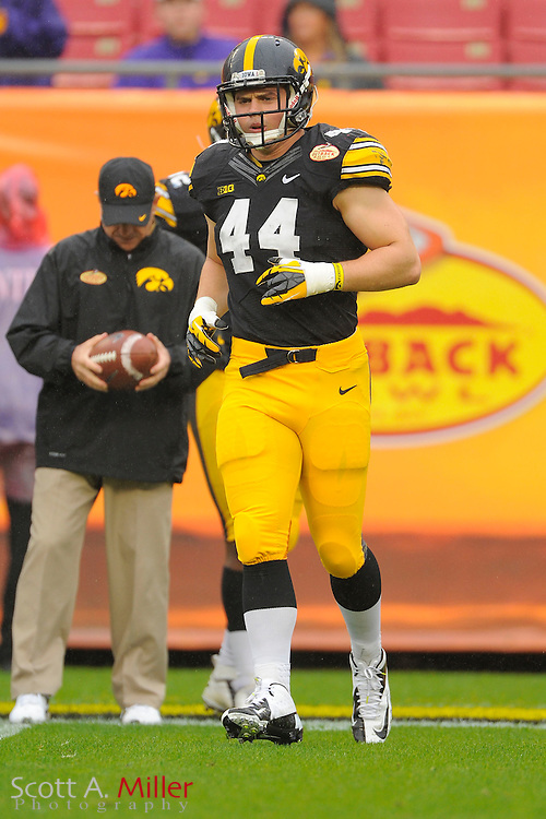 Iowa Hawkeyes linebacker James Morris (44) prior to the 2014 Outback Bowl at Raymond James Stadium on Jan. 1, 2014 in Tampa, Florida. <br /> <br /> &copy;2014 Scott A. Miller