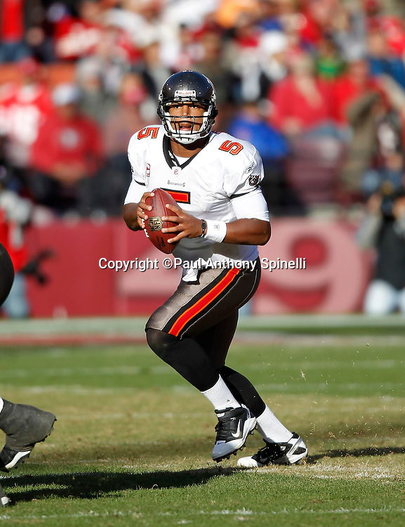 Tampa Bay Buccaneers quarterback Josh Freeman (5) drops back to pass during the NFL week 11 football game against the San Francisco 49ers on Sunday, November 21, 2010 in San Francisco, California. The Bucs won the game 21-0. (©Paul Anthony Spinelli)