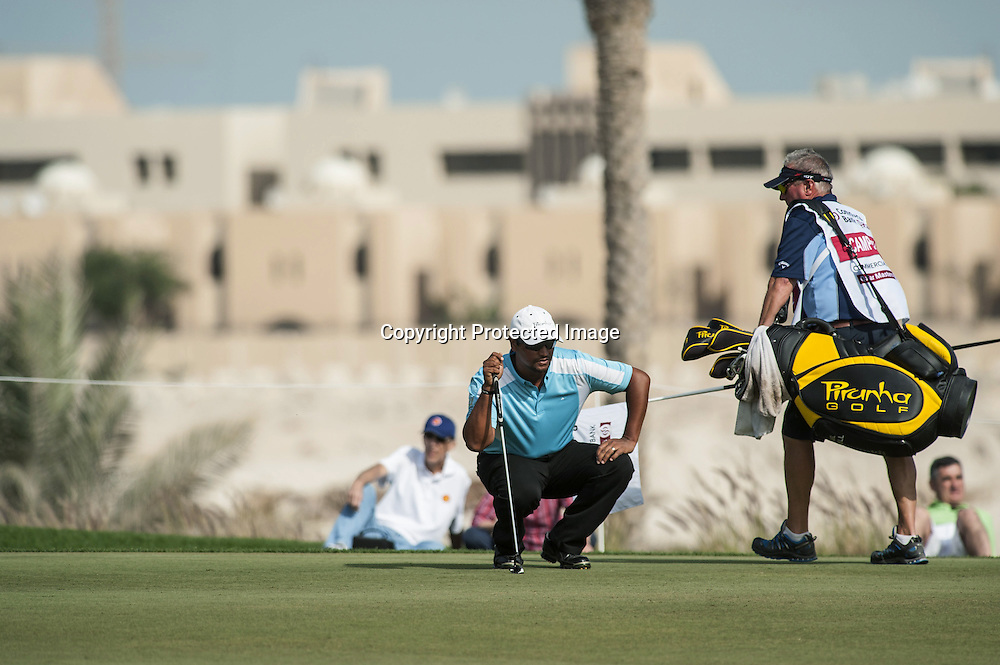 26-01-13 European Tour 2013, Commercial Bank Qatar Masters, Doha GC, Doha, Qatar. 23-26 Jan. Michael  Campbell of New Zealand with caddie during the final round.