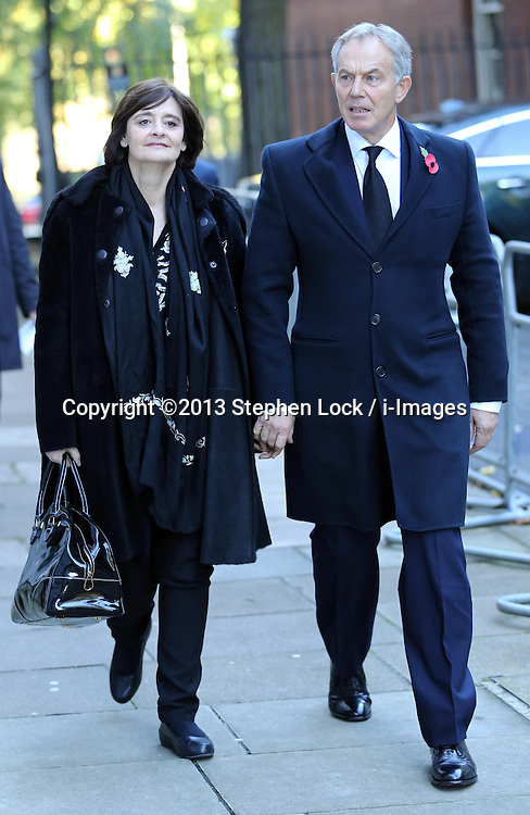 Former Prime Minister Tony Blair and wife Cherie arriving for the Remembrance Sunday service at the Cenotaph in London, Sunday, 10th November 2013. Picture by Stephen Lock / i-Images