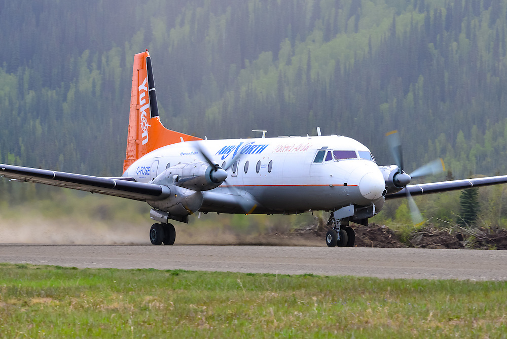 An Air North Hawker 748 takes off from Dawson City Airport (CYDA)