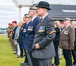Pictured: Yeomanry receive Freedom of East Lothian, Dunbar, East Lothian, Scotland, United Kingdom, 06 July 2019. The historic Lothians and Border regiment is granted Freedom of East Lothian by Councillor Jim Goodfellow, East Lothian Council's Armed Forces Champion, which is accepted by Major S J Vine. The Yeomanry's links with the county date back to 1797. Members of the British legion.<br /> <br /> Sally Anderson | EdinburghElitemedia.co.uk