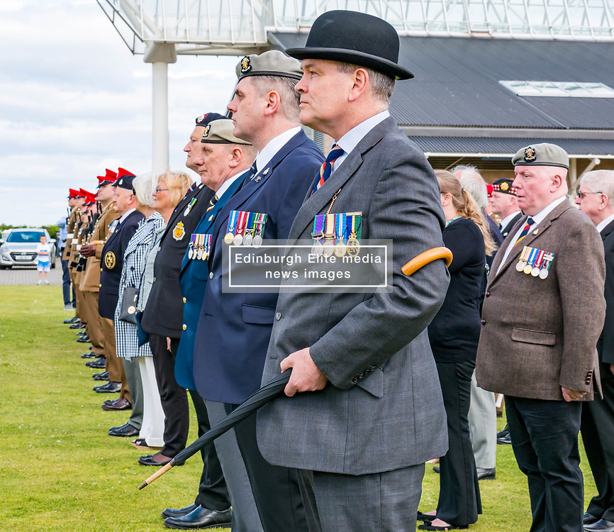 Pictured: Yeomanry receive Freedom of East Lothian, Dunbar, East Lothian, Scotland, United Kingdom, 06 July 2019. The historic Lothians and Border regiment is granted Freedom of East Lothian by Councillor Jim Goodfellow, East Lothian Council's Armed Forces Champion, which is accepted by Major S J Vine. The Yeomanry's links with the county date back to 1797. Members of the British legion.<br /> <br /> Sally Anderson   EdinburghElitemedia.co.uk