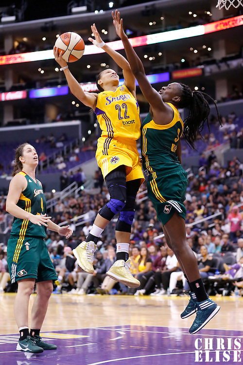 15 August 2014: Los Angeles Sparks guard/forward Armintie Herrington (22) goes for the layup during the Los Angeles Sparks 77-65 victory over the Seattle Storm, at the Staples Center, Los Angeles, California, USA.