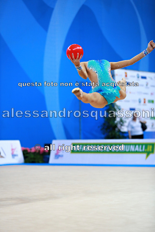 Harutyunyan Lilit during qualifying at ball in Pesaro World Cup 1 April 2016. Lilit is an Armenian rhythmic gymnastics athlete born  May 5, 1995 in Erevan,  Armenia.