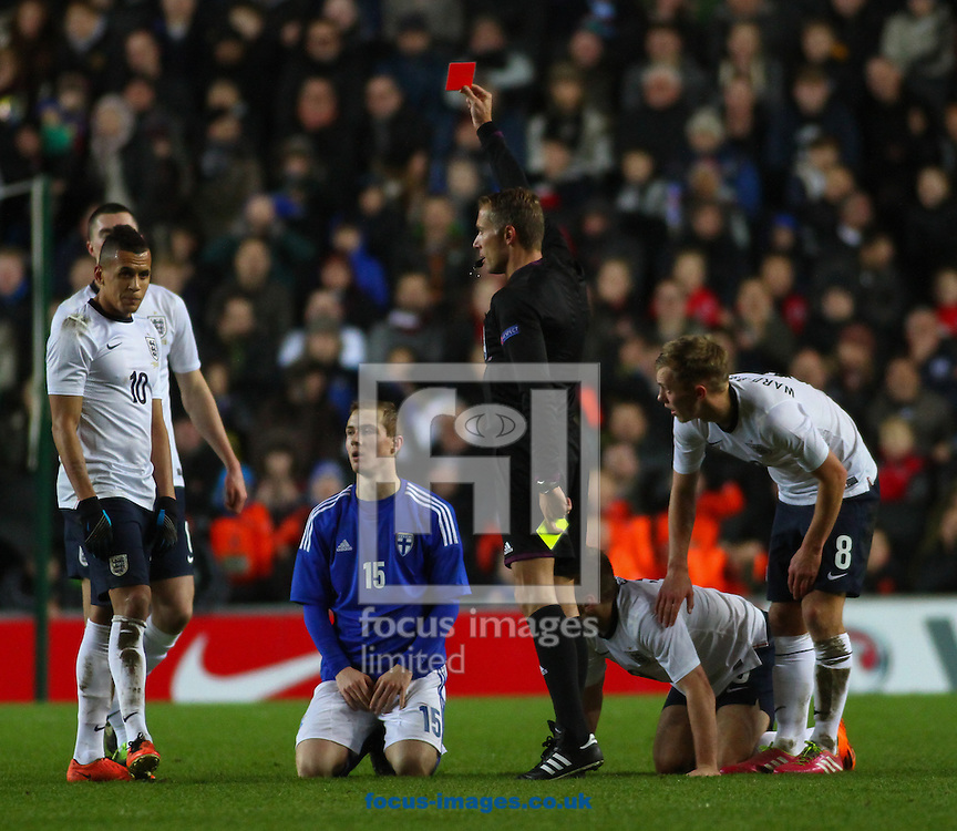 Picture by David Horn/Focus Images Ltd +44 7545 970036<br /> 14/11/2013<br /> Patrick O'Shaughnessy of Finland U21 is sent off during the European U21 Championship match at stadium:mk, Milton Keynes.