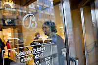 4 October, 2008. A customer enters the Bloomingdale's department store on 59th street and Lexington ave. As the financial crisis spread last month, many retailers hit the panic button, offering more generous discounts than they did at the same time last year. But the promotions did little to convince cautious shoppers to open their wallets.<br /> <br /> ©2008 Gianni Cipriano for The Wall Street Journal<br /> cell. +1 646 465 2168 (USA)<br /> cell. +1 328 567 7923 (Italy)<br /> gianni@giannicipriano.com<br /> www.giannicipriano.com