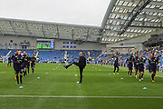 Everton players warm up with Everton striker Wayne Rooney (10) during the Premier League match between Brighton and Hove Albion and Everton at the American Express Community Stadium, Brighton and Hove, England on 15 October 2017. Photo by Phil Duncan.