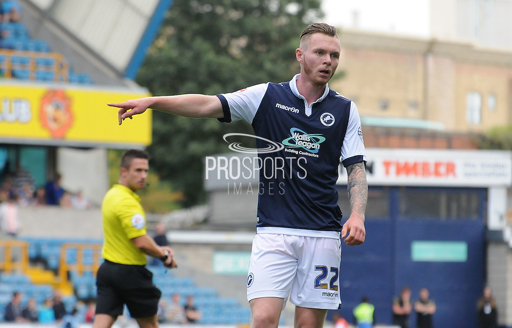 Aiden O'Brien orders play during the Sky Bet League 1 match between Millwall and Rochdale at The Den, London, England on 26 September 2015. Photo by Michael Hulf.