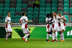 Players of FK AS Trencin celebrate during 1st Leg football match between NK Olimpija Ljubljana (SLO) and FK AS Trencin (SVK) in Second Qualifying Round of UEFA Champions League 2016/17, on July 13, 2016 in SRC Stozice, Ljubljana, Slovenia. Photo by Morgan Kristan / Sportida