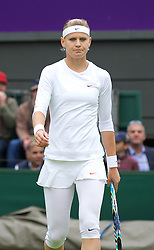LONDON, ENGLAND - Monday, June 24, 2013: Lucie Safarova (CZE) wearing white leggings during the Ladies' Singles 1st Round match on day one of the Wimbledon Lawn Tennis Championships at the All England Lawn Tennis and Croquet Club. (Pic by David Rawcliffe/Propaganda)