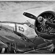 Aluminium polished Beechcraft C45, vintage airplane