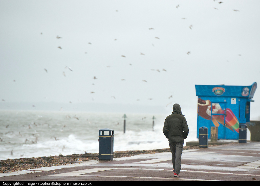 © Licensed to London News Pictures. 11/11/2014. Southsea, UK. A man walks along a deserted waterfront. Wet and windy weather today, 11 November 2014, at Southsea, Portsmouth. The Met Office have issued weather warnings in some parts of the UK. Photo credit : Stephen Simpson/LNP