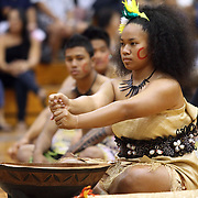 Kaiser High School May Day Samoa Taupou, Sailine Fifita (of Tongan and Samoan heritage) partakes in a Kava Ceremony (sans Kava) at Kai ser's gymnasium.  Photo by Barry Markowitz, 5/4/12, 10:52am