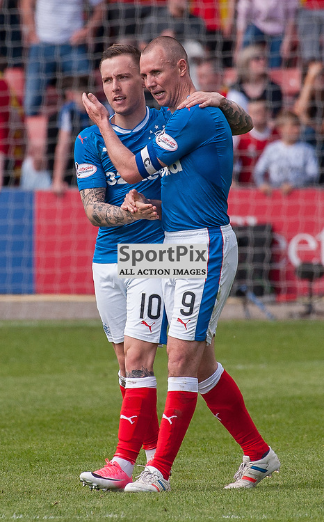 #10 Barrie McKay (Rangers) congratulates #9 Kenny Miller for his contribution to the winning goal - Partick Thistle v Rangers - Ladbrokes Premiership - 07 May 2017 - © Russel Hutcheson | SportPix.org.uk