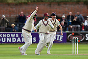 Wicket - Marcus Trescothick of Somerset celebrates taking the catch to dismiss Shivnarine Chanderpaul of Lancashire off the bowling of Jack Leach of Somerset during the Specsavers County Champ Div 1 match between Somerset County Cricket Club and Lancashire County Cricket Club at the Cooper Associates County Ground, Taunton, United Kingdom on 13 September 2017. Photo by Graham Hunt.