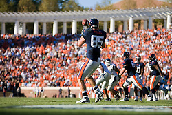 Virginia tight end John M. Phillips (85) looks in a pass from Virginia quarterback Jameel Sewell (10) -- Phillips scored a touchdown on the play.  The Virginia Cavaliers defeated the Connecticut Huskies 17-16 at Scott Stadium in Charlottesville, VA on October 13, 2007
