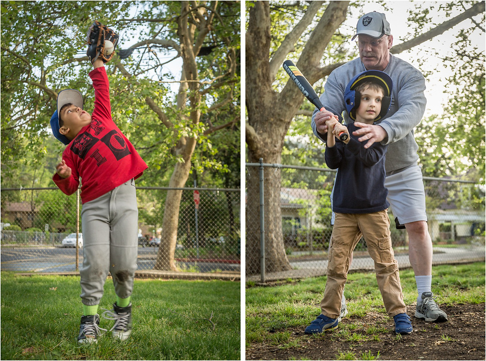 "Summer can not be far away as six year old Kevin Rios goes up for a high hard one and five year old Roland King gets batting instruction from head coach Darren Bohan during the second practice of the new season for the ""Bocats"" T-Ball team at Calistoga Elementary School."