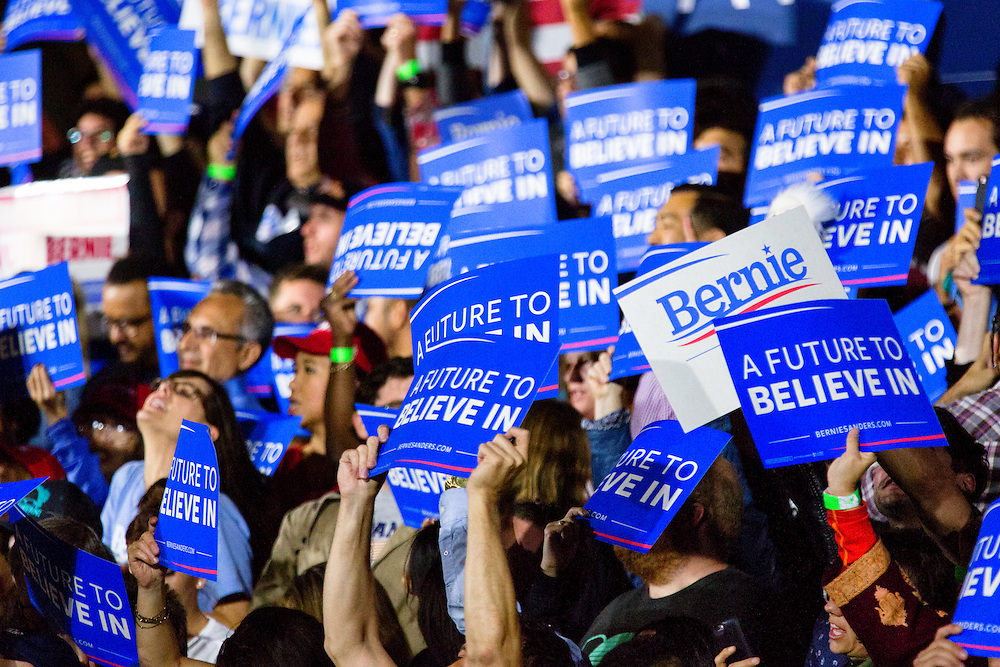 "The primary slogan of the Bernie Sanders campaign was ""A Future to Believe In."" June 7, 2016. Santa Monica, Calif. (Photo by Gabriel Romero ©2016)"
