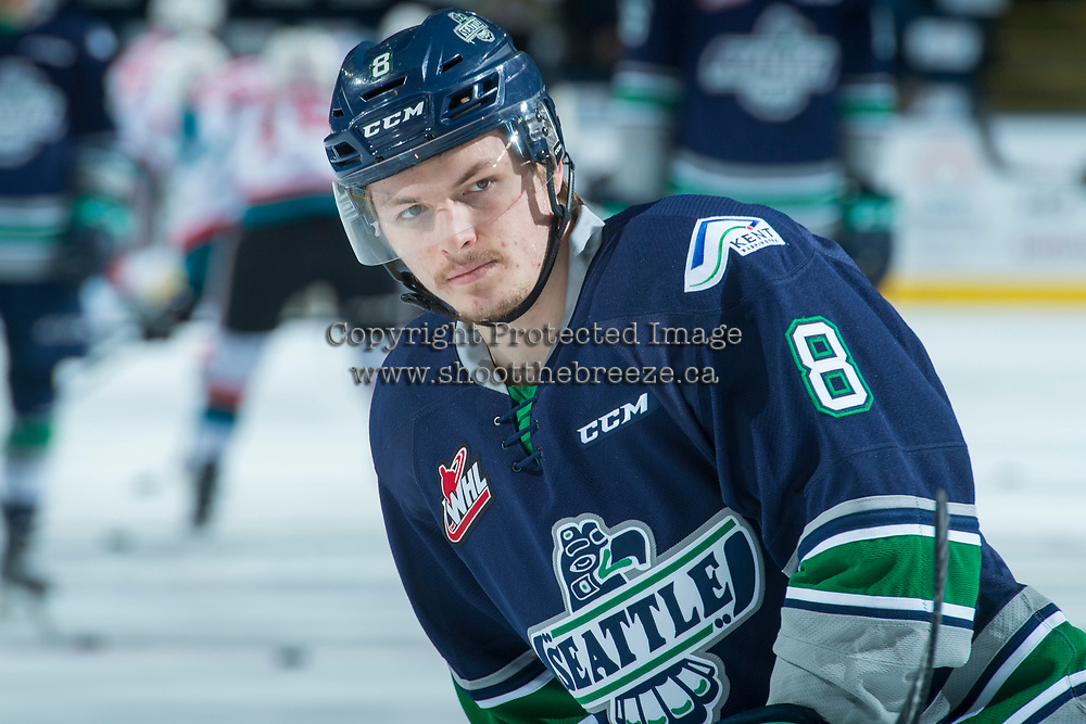 KELOWNA, CANADA - APRIL 25: Scott Eansor #8 of the Seattle Thunderbirds warms up against the Kelowna Rockets on April 25, 2017 at Prospera Place in Kelowna, British Columbia, Canada.  (Photo by Marissa Baecker/Shoot the Breeze)  *** Local Caption ***