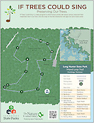 "Vector map of Long Hunter State Park, Hermitage, Tennessee. The map is of the ""If Trees Could Sing"" program sponsored by The Nature Conservancy and Tennessee State Parks. ""If Trees Could Sing"" is a video program in which music artists talk about various trees and their important role in our lives. Use this map to find the interactive tree signs for each music artist."
