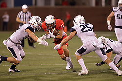 02 September 2017:   Spencer Schnell makes a run looking to bet by Isaak Newhouse during the Butler Bulldogs at  Illinois State Redbirds Football game at Hancock Stadium in Normal IL (Photo by Alan Look)