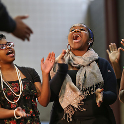 The Dr. Martin Luther King Jr. Community Peace Brunch today in the Student Activity Center's Small Sports Forum, featured the Dr. Martin Luther King Jr. Oratorical Contest, as well as remarks from President George E. Ross and Robert Newby, professor emeritus of sociology, anthropology and social work.  Central Michigan University photo by Steve Jessmore