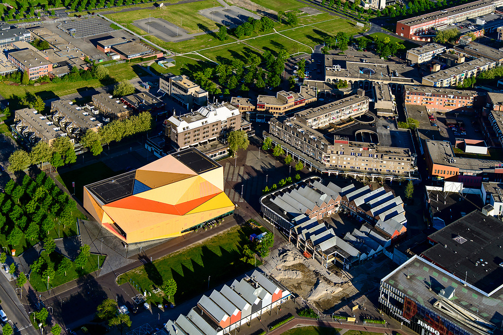 Nederland, Flevoland, Lelystad, 07-05-2018; Lelystad Centrum met schouwburg de Agora.<br /> Lelystad city centre with Agora theatre.<br /> <br /> luchtfoto (toeslag op standard tarieven);<br /> aerial photo (additional fee required);<br /> copyright foto/photo Siebe Swart