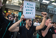 Torrington Place, London, August 12th 2016. Deliveroo is embroiled in a row over a new pay structure with its couriers as up to 100 workers and supporters stage a second protest outside the takeaway delivery company's HQ at Torrington Place in central London. Deliveroo couriers are self-employed, which means that they are not entitled to the national living wage, currently set at £7.20 an hour. Some have suggested that the new structure, which will see workers paid £3.75 per delivery, will make it hard for them to earn as much as they took home while on hourly pay rates.  // Lee Thomas, Flat 47a Park East Building, Bow Quarter, London, E3 2UT. Tel. 07784142973. Email: leepthomas@gmail.com. www.leept.co.uk (0000635435)