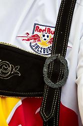 21.08.2011, Red Bull Arena, Salzburg, AUT, 1. FBL, Red Bull Salzburg vs Sturm Graz, im Bild Feature, Red Bull Salzburg, ein Fan mit einem Trikot und einer Lederhosen, Tracht // during the Austrian Bundesliga Match, Red Bull Salzburg vs Sk Sturm Graz, Red Bull Arena, Salzburg, 2011-08-21, EXPA Pictures © 2011, PhotoCredit: EXPA/ J. Feichter