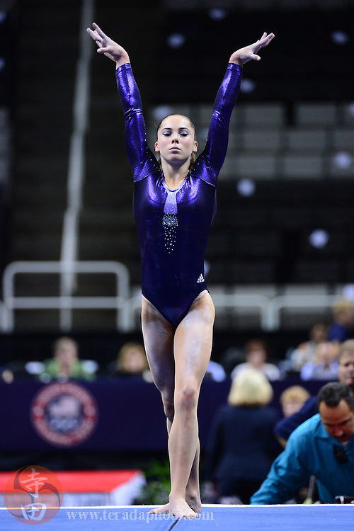 June 29, 2012; San Jose, CA, USA; McKayla Maroney warms up on the floor exercise during the 2012 USA Gymnastics Olympic Team Trials at HP Pavilion.