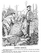 "Expert Opinion. First Bricklayer (pausing so as not to exceed his union's speed limit). ""Bought any of these 'ousing bonds, mate?"" Second Bricklayer (ditto). ""Not me; they'll never get no 'ouses built, not if things go on the way they're going."" (cartoon showing the state of labour and the unions in the InterWar period immediately following WW1)"