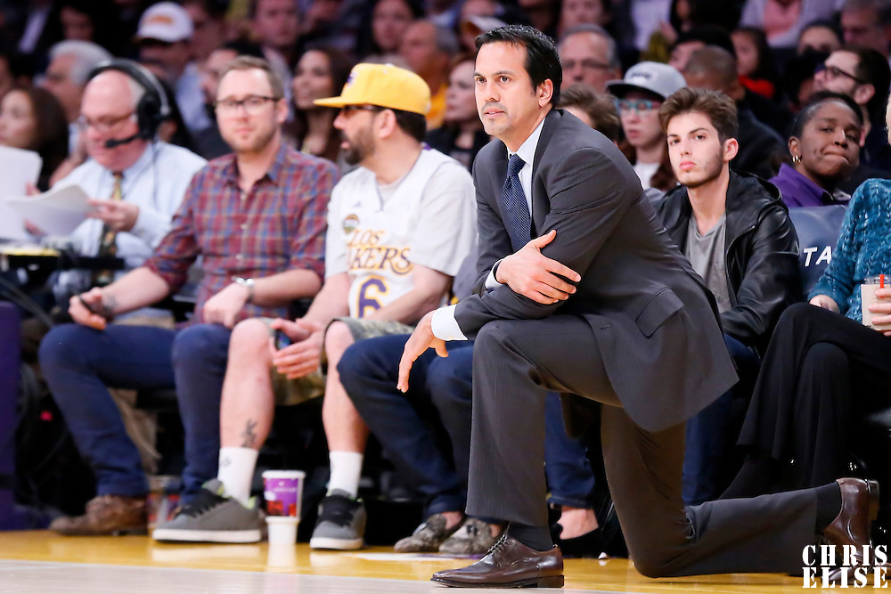 13 January 2014: Miami Heat head coach Erik Spoelstra is seen during the Miami Heat 78-75 victory over the Los Angeles Lakers, at the Staples Center, Los Angeles, California, USA.