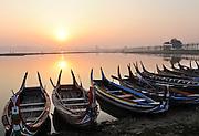 Amarapura, ie Ubein bridge, world's longest teak bridge, near Mandalay, Burma