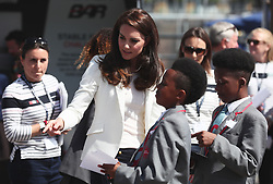 The Duchess of Cambridge arrives to attend the 1851 Trust charity's final Land Rover BAR Roadshow at Docklands Sailing and Watersports Centre in London.