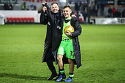Forest Green Rovers assistant manager, Scott Lindsey and Forest Green Rovers George Williams(11) during the EFL Sky Bet League 2 match between Newport County and Forest Green Rovers at Rodney Parade, Newport, Wales on 26 December 2018.
