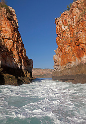 Outgoing tide at the Horiztonal Waterfalls, Talbot Bay, on the Kimberley coast.