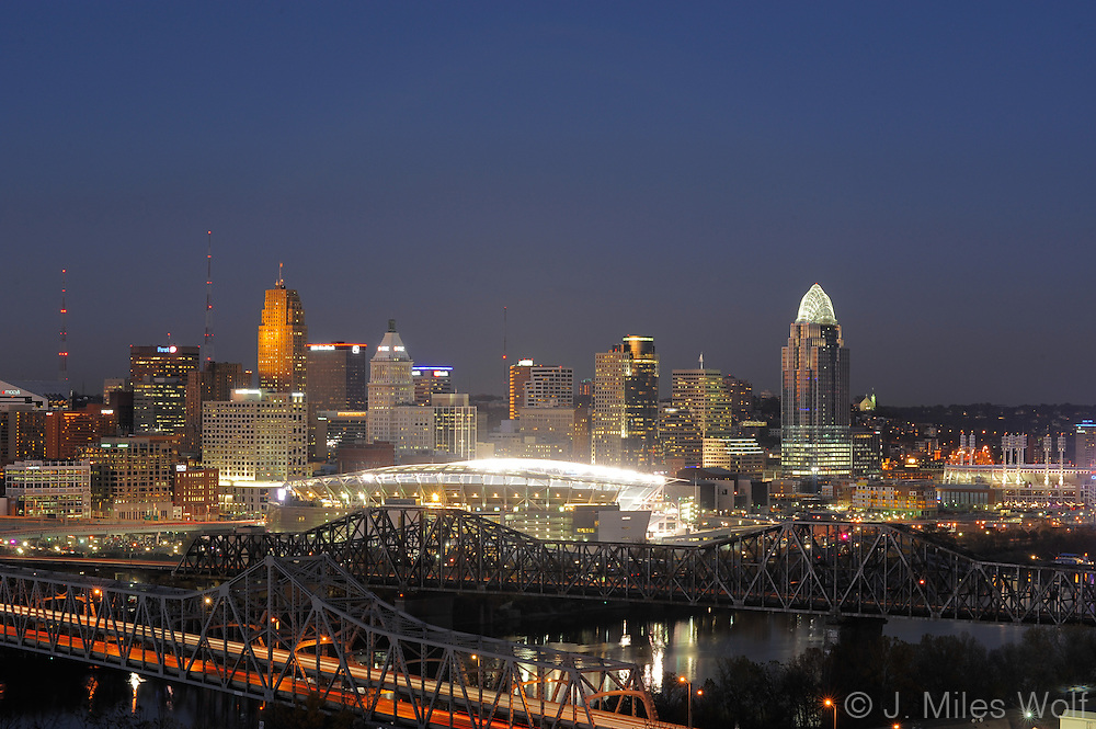 Cincinnati Skyline at twilight and Paul Brown Stadium