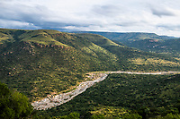 White iMfolozi river passing through mountainous bushveld gorge, Babanango Private Game Reserve, KwaZuluNatal, South Africa